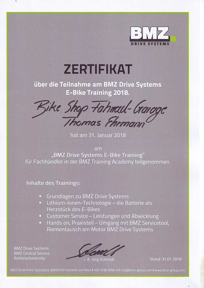 Zertifikat BMZ Drive Systems E-Bike Training, Thomas Ehrmann, 2018