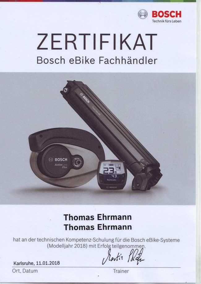 Zertifikat Bosch eBike Fachhändler, Thomas Ehrmann, 2018