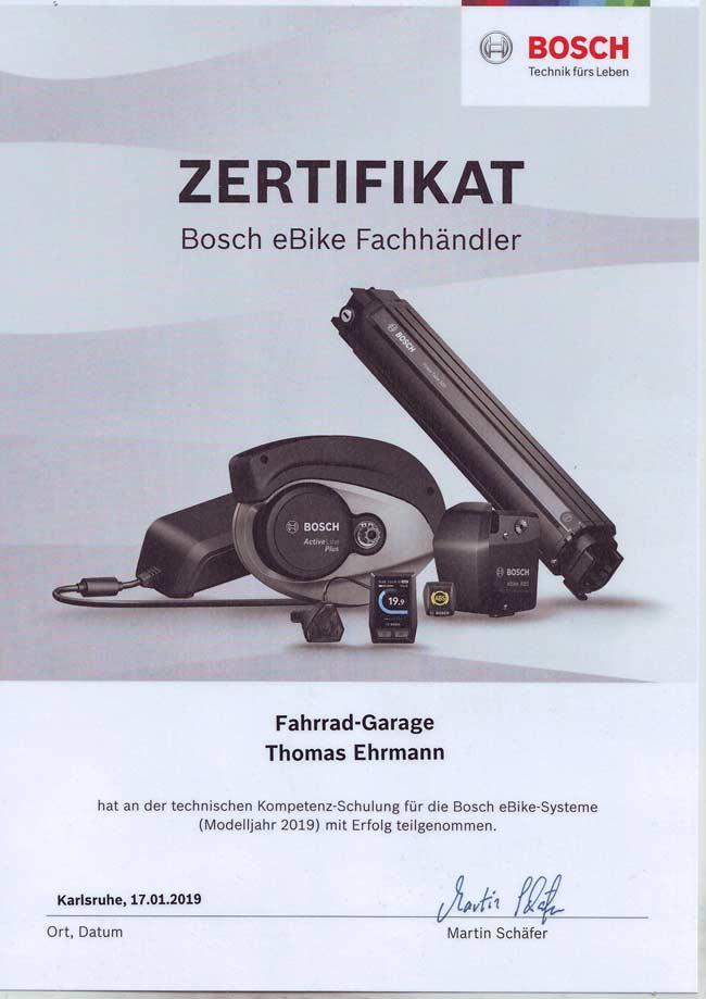 Zertifikat Bosch eBike Fachhändler, Thomas Ehrmann, 2019