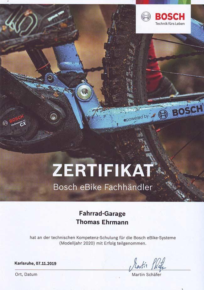 Zertifikat Bosch eBike Fachhändler, Thomas Ehrmann, 2020