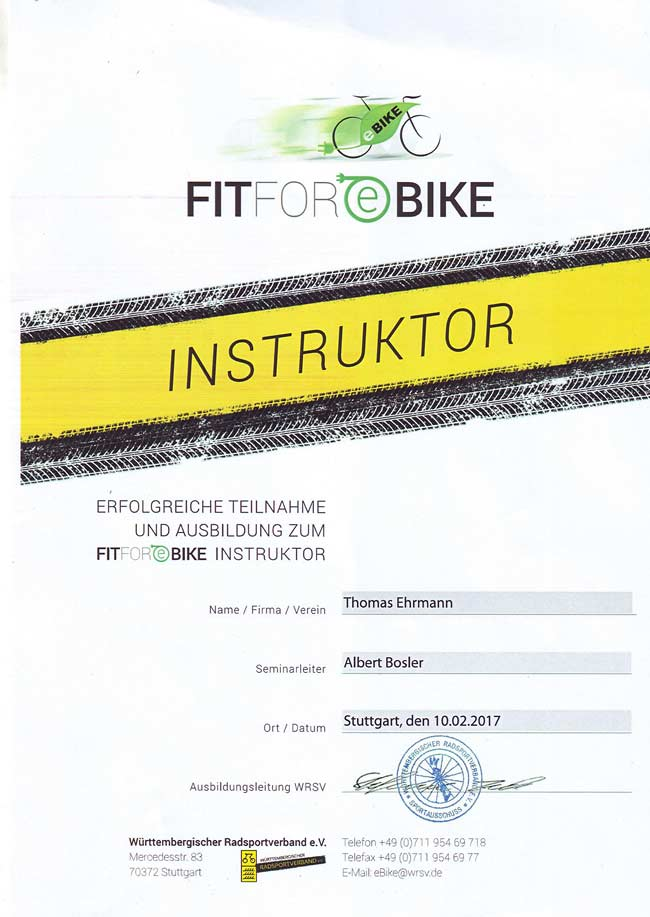Fit for eBike Instruktor, Zertifikat, Thomas Ehrmann, 2017