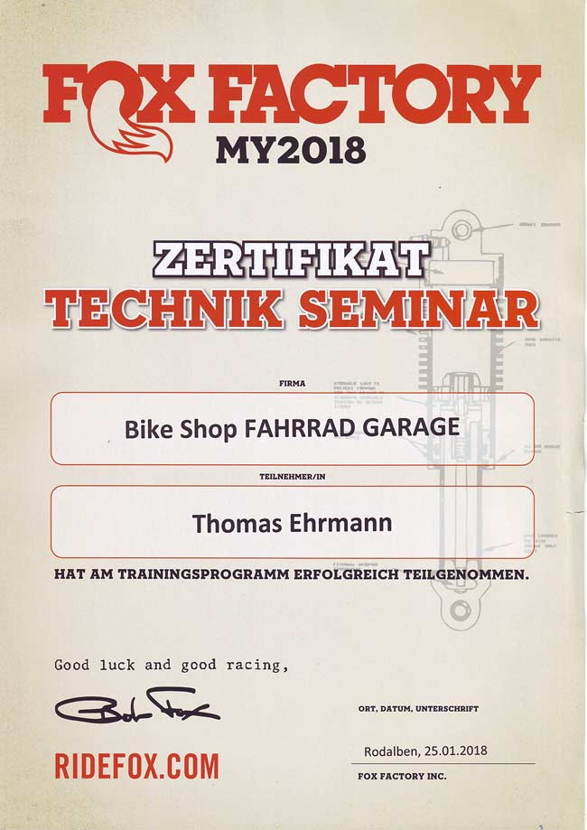 Zertifikat Technik Seminar Fox Factory, Thomas Ehrmann, 2018.