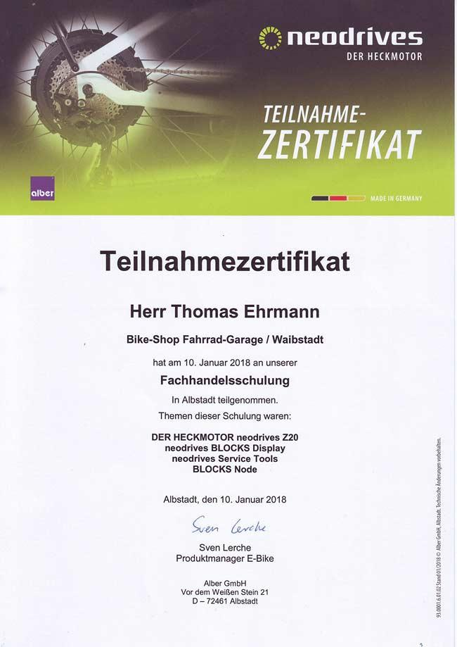 Neodrives, Fachhandelsschulung Thomas Ehrmann, 2018