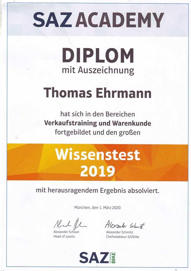 Thomas Ehrmann - Diplom SAZ Academy. Wissenstest 2019