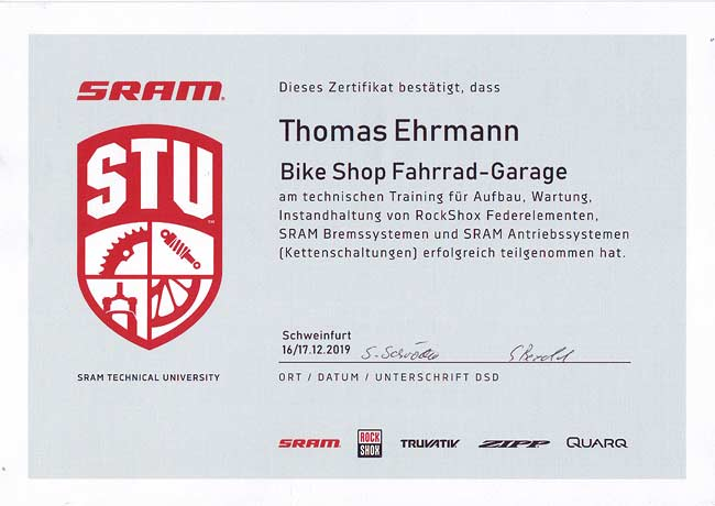SRAM 2020, Zertifikat Technisches Training. Thomas Ehrmann, 2019
