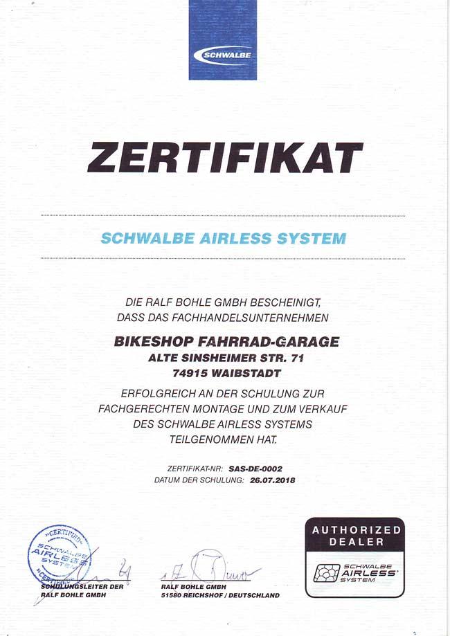 Zertifikat Thomas Ehrmann, Schwalbe Airless System - 2018