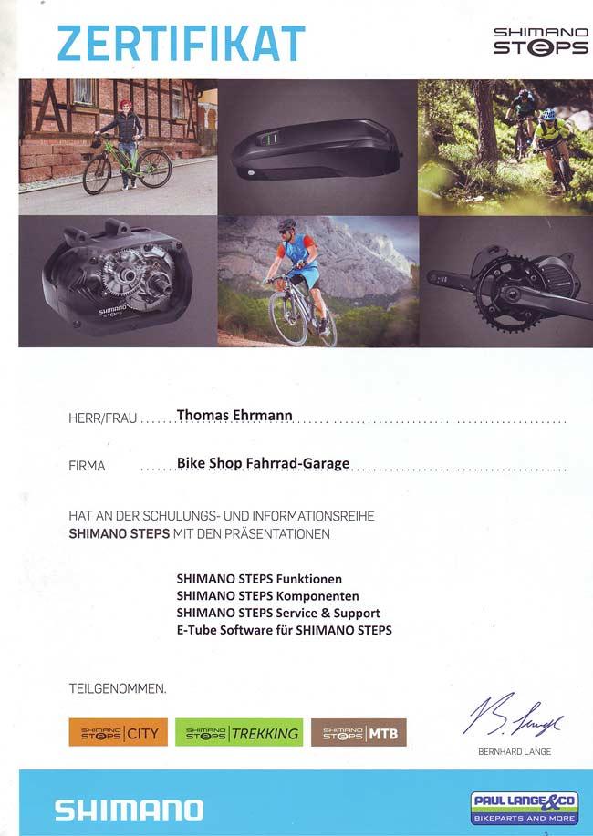 Zertifikat Thomas Ehrmann, Shimano Steps Schulung