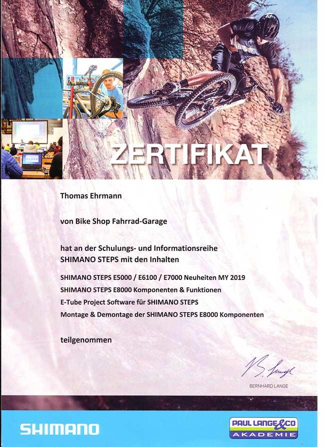 Shimano Steps Schulung 2019, Zertifikat, Thomas Ehrmann.